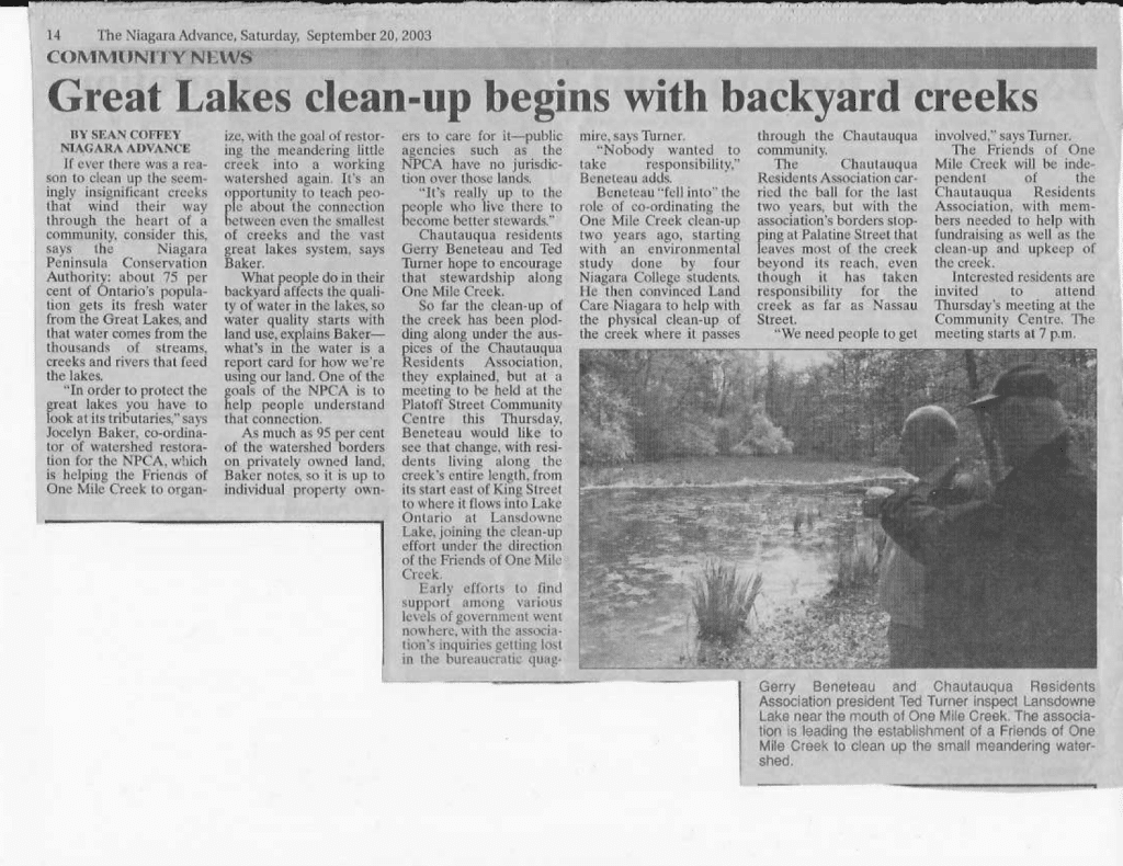September 20, 2003: Article in Niagara Advance about new group.