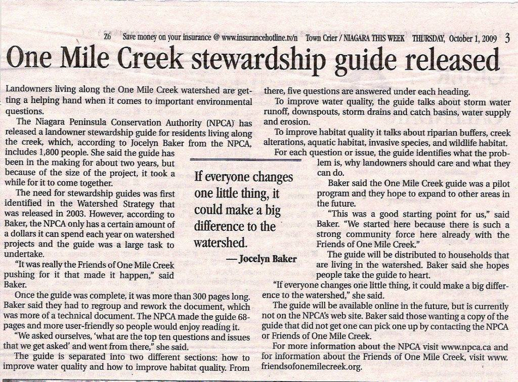 Oct. 1, 2009, article in Town Crier / Niaagra This Week about release of Stewardship Guide.