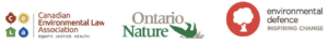Canadian Environmental Law, Ontario Nature, Environmental Defence logos