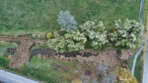 Aerial view of Oct 24 2020 tree planting in progress of extended area along One Mile Creek 5