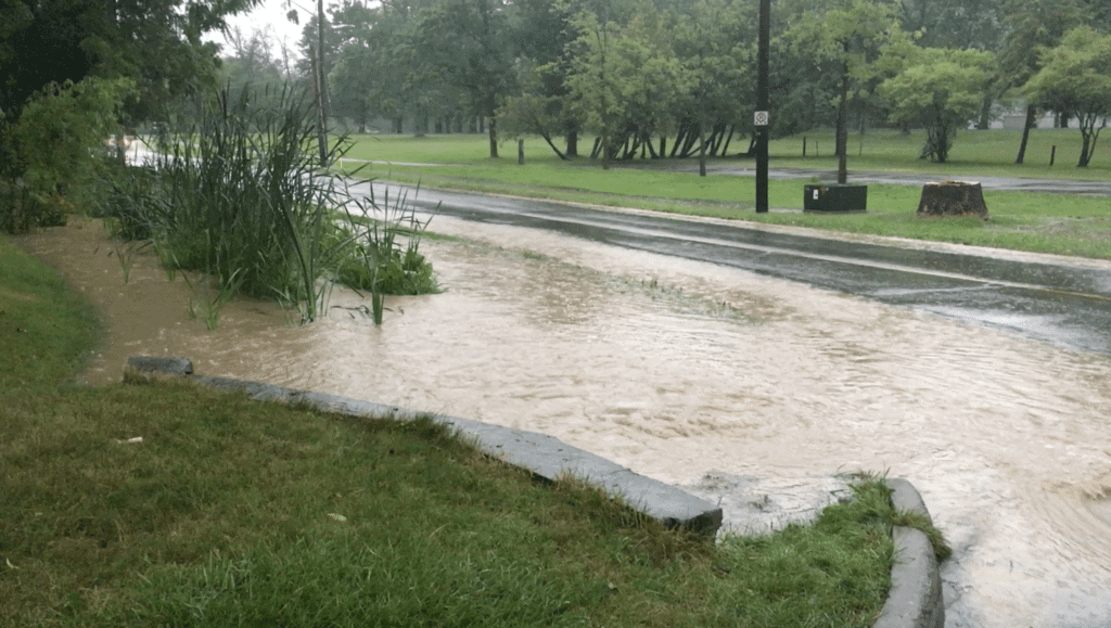 One Mile Creek flooding intersection of Charlotte St. and John St Aug 14 2019