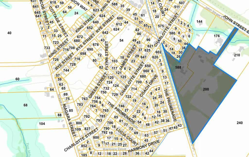 Map showing location in grey of proposed Rand subdivision: about 15 acres --  75% of development area -- would be covered with roofs or pavement.