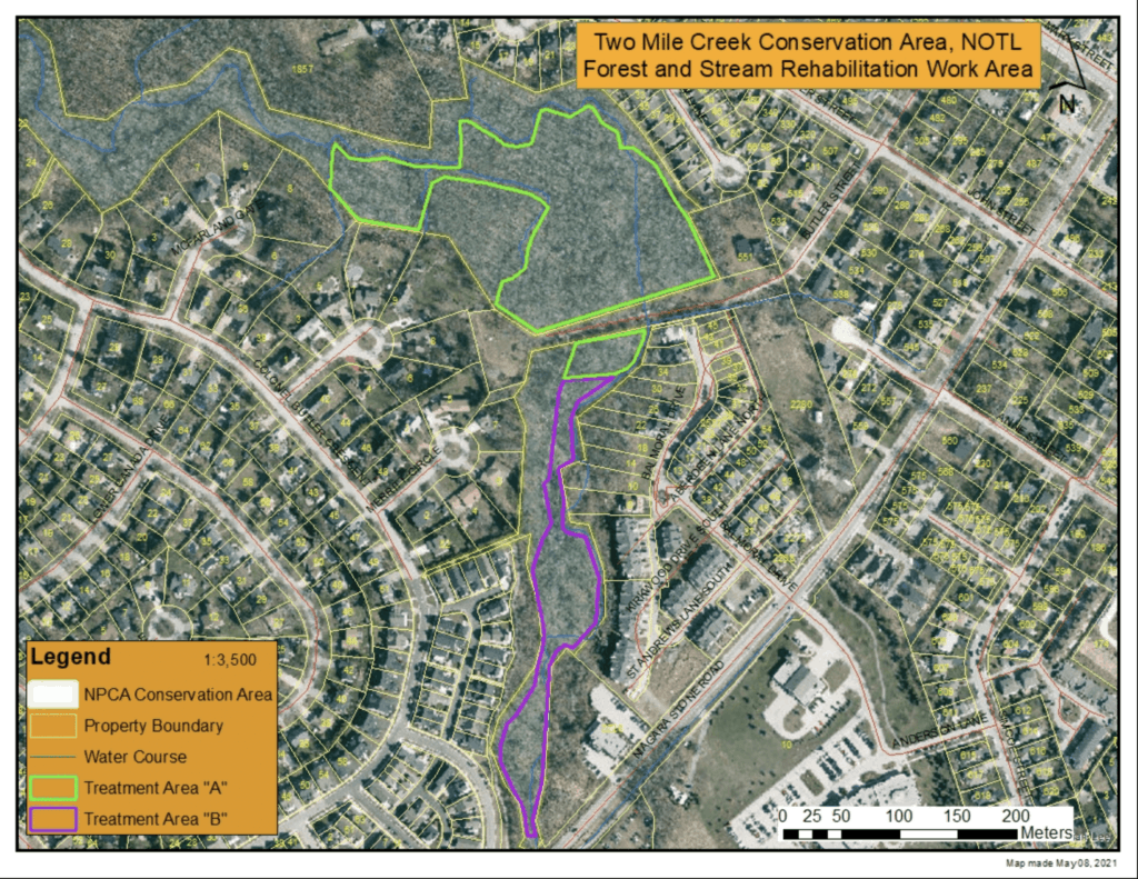 NPCA map showing areas for July 2021 rehabilitation work for Two Mile Creek Conservation Area.