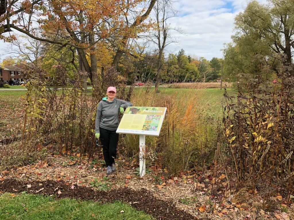 Klara at pollinator sign Oct 2019